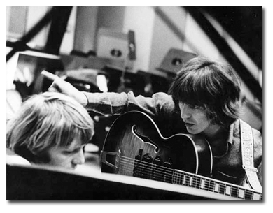 Larry Knechtel with George Harrison during sessions for Jackie Lomax